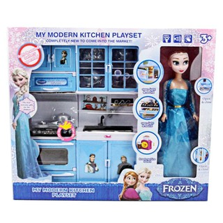 Đồ chơi nấu ăn, nhà bếp elsa có đèn nhạc, Đồ chơi nhà bếp kèm búp bê – w080572 cao cấp cho bé