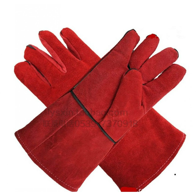 oves, long welder, wear-resistant, leather, red, welding, heat-resistant, stab-resistant, two-layer thick leather gloves