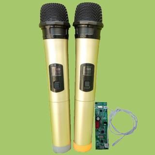 [Mã ELFLASH5 giảm 20K đơn 50K] Micro không dây đôi VHF loa kéo mạch loa kéo màu vàng, micro cho loa kéo