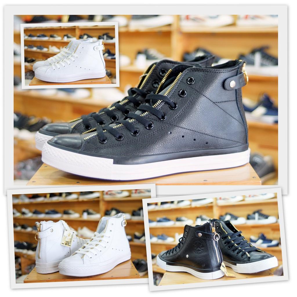 Giày Converse da cao cổ full box - Da sần màu đen và trắng - Mã SP: 1B765/1B766