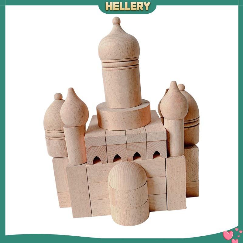 [HELLERY] Set of 55pcs Solid Wood Castle Building Blocks Bricks Construction Toys