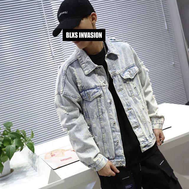 ÁoKhoác Jean Nam áO Khoác Nam Xanh Rách Phong Cách Hàn Quốc CAO CẤP MS 33 - Áo khoác jeans