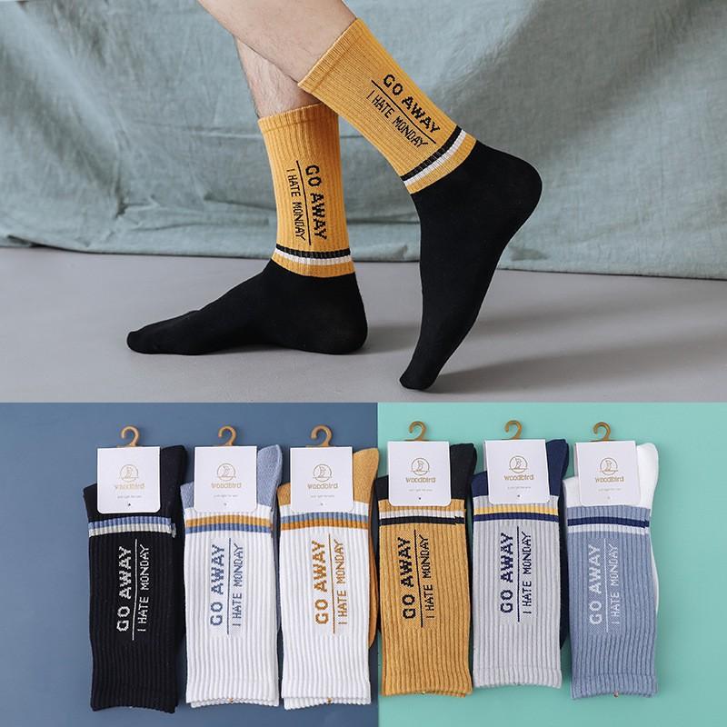Tất nam Cổ cao Cá tính Mang giày Thể thao Cao cấp Cotton Vớ Cổ cao nam Phong cách Cá tính Cotton