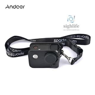 [silf]Andoer Multifunctional Clip-on Sports Camera Protecive Carrying Hanging Case Bag with Neck Lanyard Lens Cap for SJCAM SJ4000 SJ5000 or