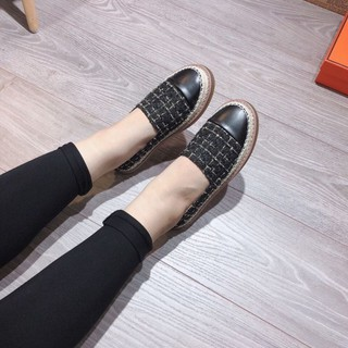 Giày slip on kẻ ô vuông chất xù đế viền cói mép nâu - 2P