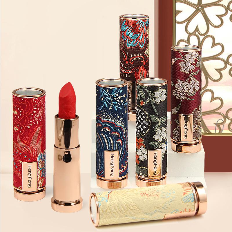 Son lì thiết kế theo hoa văn cổ trang khắc hoa Hengfang màu nhung cao cấp lipstick