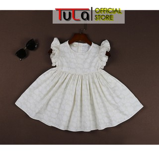 Váy Đầm Cho Bé Gái Chân Xòe Tay Bèo Cúc Sau Xinh Xắn Vải Thô Kiện Hàn Quốc