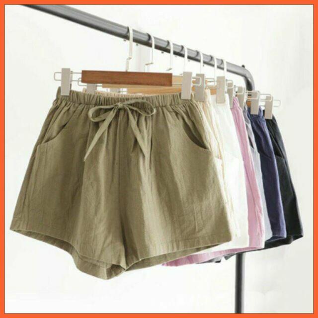 [Mã WASTUP5 giảm 10% tối đa 20K đơn 99K] quần short nữ đùi chất đũi sần nhẹ mát