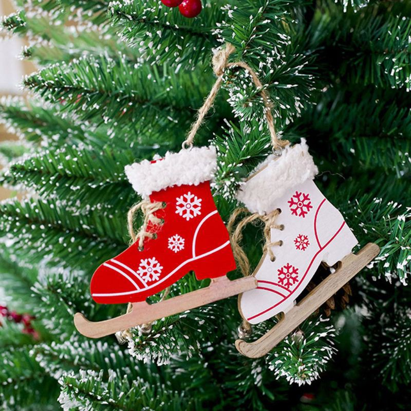 Christmas Wooden Ice Skates Shoes Hanging Ornament Pendant