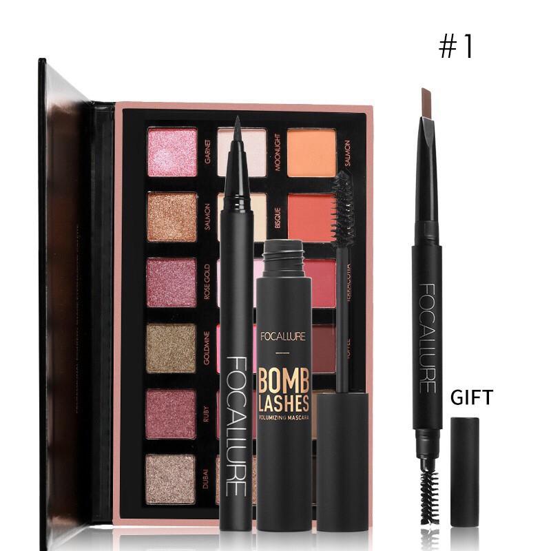 Bộ sản phẩm trang điểm FOCALLURE gồm bảng phấn mắt 18 màu + mascara + bút kẻ mắt 400g/1pcs