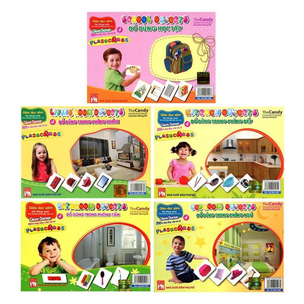 Sách -Combo 5 Chủ Đề Flashcard Dạy Trẻ Theo Phương Pháp Glenn Doman -Bé Làm Quen Với Các Loại Đồ Vật Trong Gia Đình
