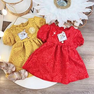Đầm xòe gấm hoa tay phồng cho bé 8-23kg chất vải xịn cực sang chảnh cho bé lung linh nổi bật BBShine – D081
