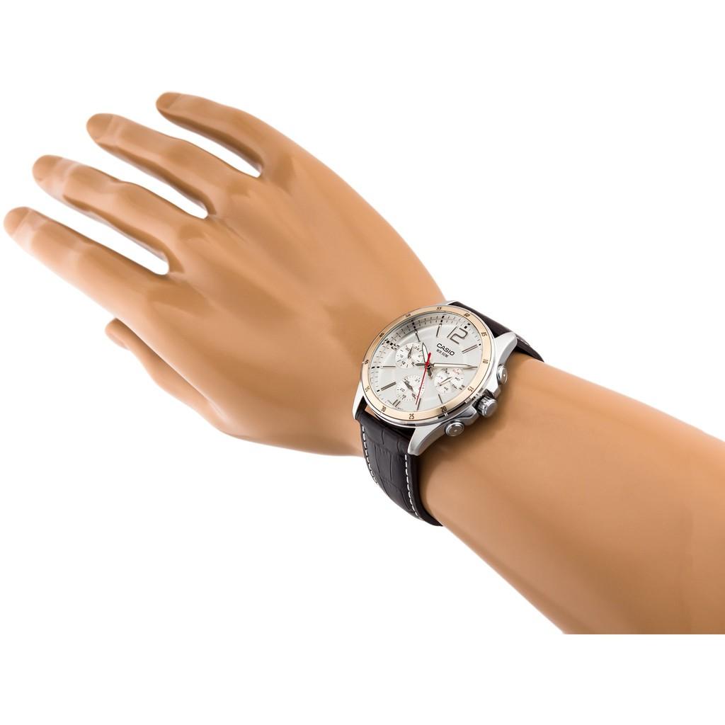 Đồng hồ nam dây da chính hãng Casio Anh Khuê MTP-1374
