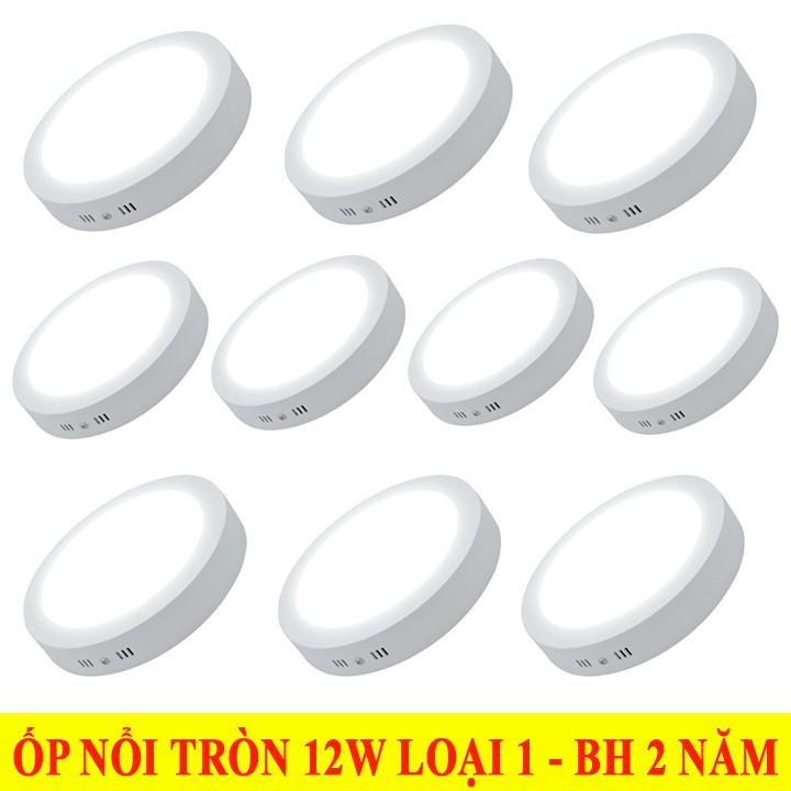 Combo10 đèn ốp trần nổi 12W Tròn 2 màu ánh sáng độc đáo