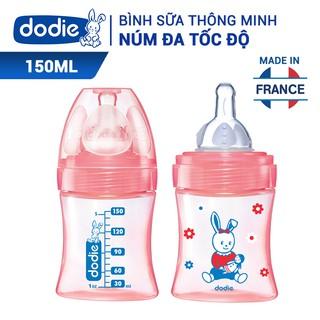 Bình sữa Dodie tam giác thông minh núm đa tốc độ (BPA, BPS Free) dành cho bé 0-6m - 150ml - Họa tiết ngẫu nhiên thumbnail