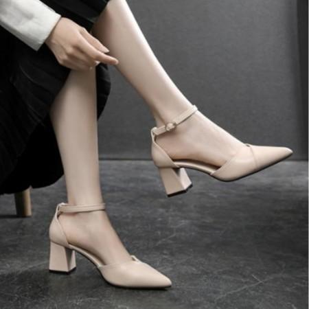 Giày cao gót đế vuông xếp mũi 5 phân phong cách Hàn Quốc ( MÃ A11 )