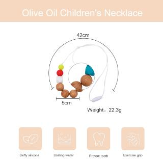 【Spot】 Olive Oil Baby Necklace Colorful Pink Beech Wood Material Safe and Non-toxic Children's Pendant Pendant