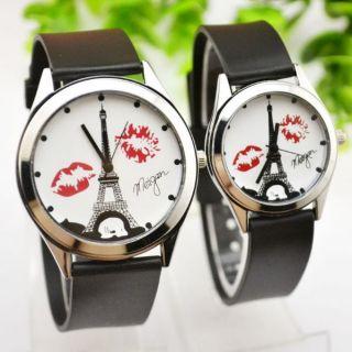 Đồng hồ cặp nam nữ dây cao su tháp nụ hôn
