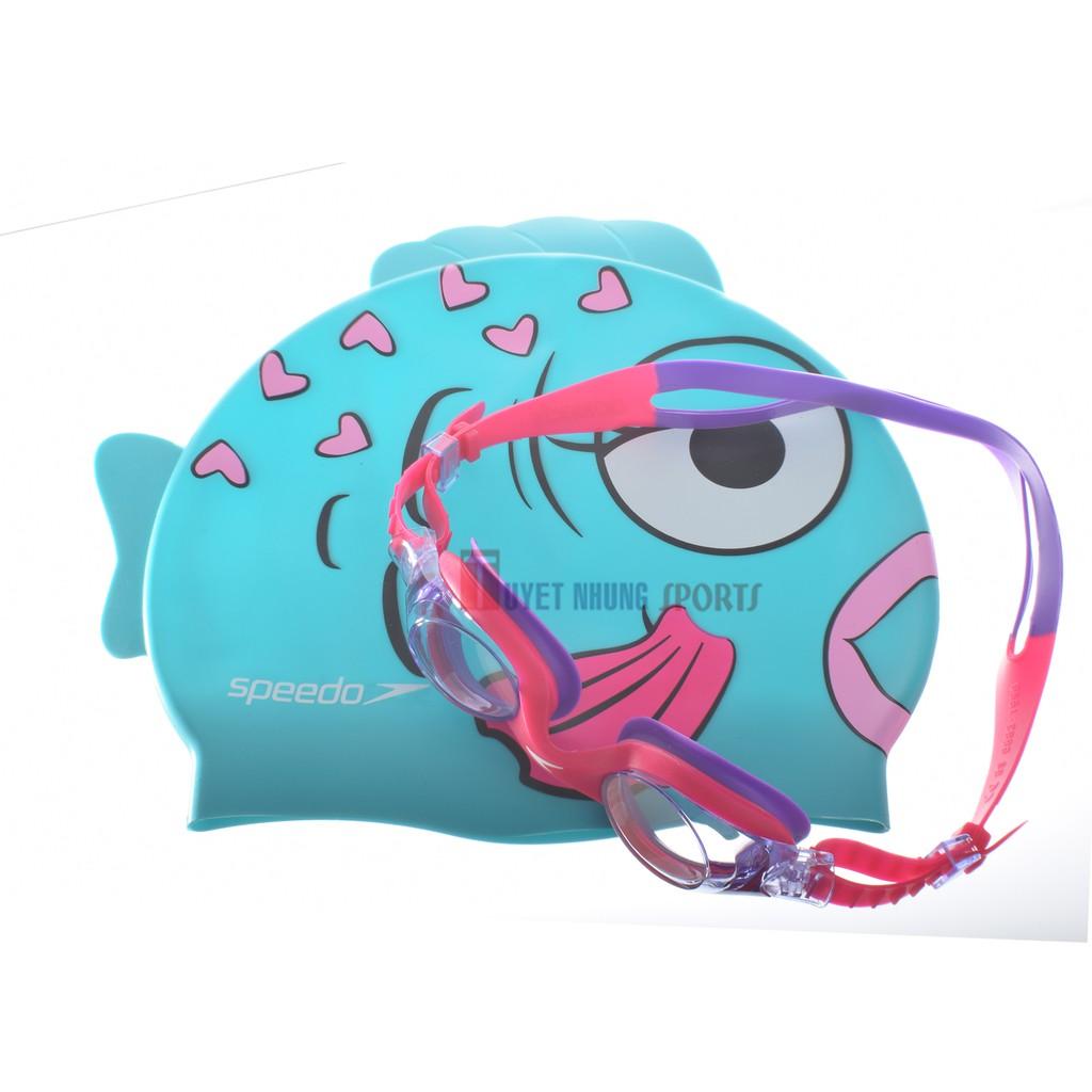 Bộ kính bơi mũ bơi Speedo trẻ em 2 -6 tuổi (Hồng tím)