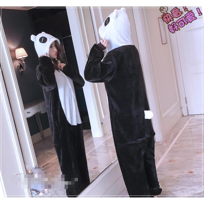 Bộ đồ ngủ lông hình thú gấu trúc panda (có size trẻ em)
