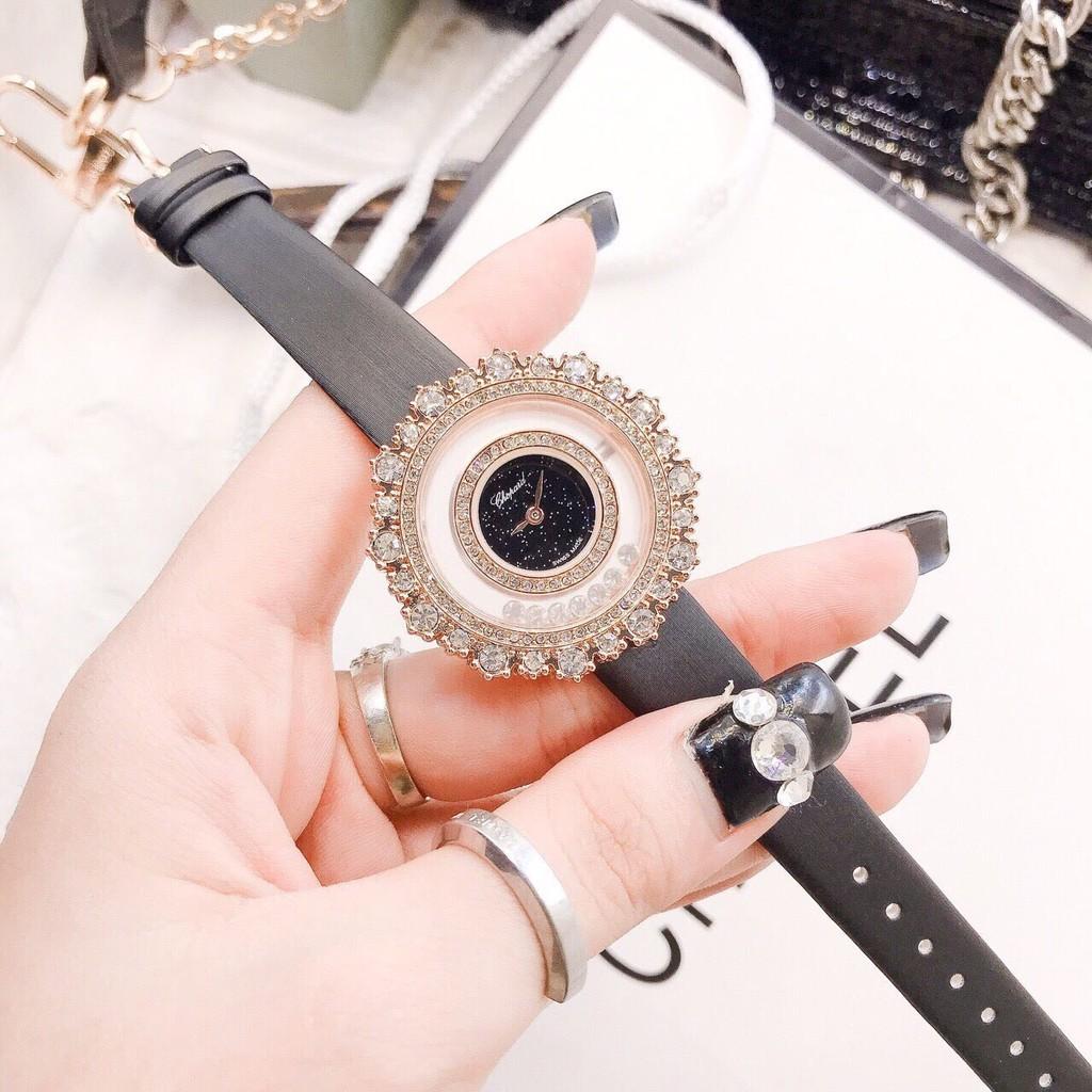 Đồng hồ Nữ Chopard C130 dây da, mặt cách điệu đẹp
