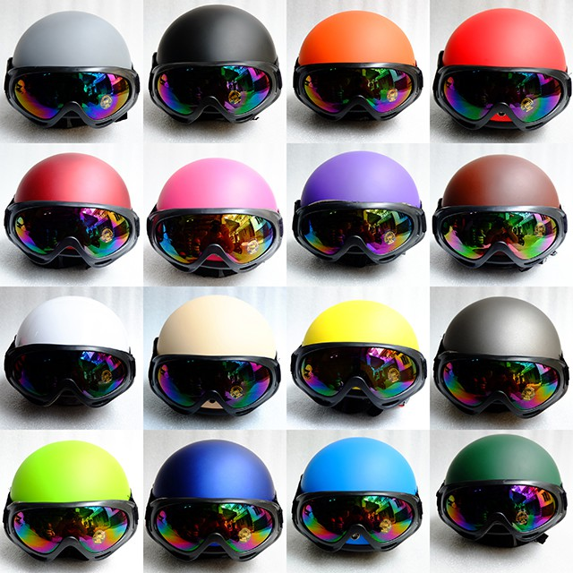 (HÀNG CÔNG TY) Mũ Bảo Hiểm Nửa Đầu Kèm Kính UV - Nón 1/2 - 17 Màu