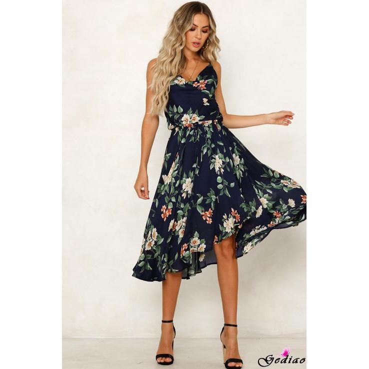 Đầm dài không tay họa tiết hoa phong cách boho thời trang cho nữ