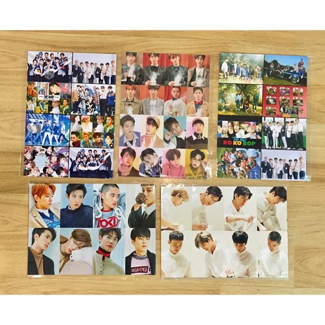Combo 5 ảnh poster EXO khổ A4 : 1,4,8,16 ảnh /1 bảng