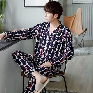 Set Pijama Áo Dài Tay + Quần Dài Chất Liệu Cotton Cao Cấp Thời Trang Dành Cho Nam