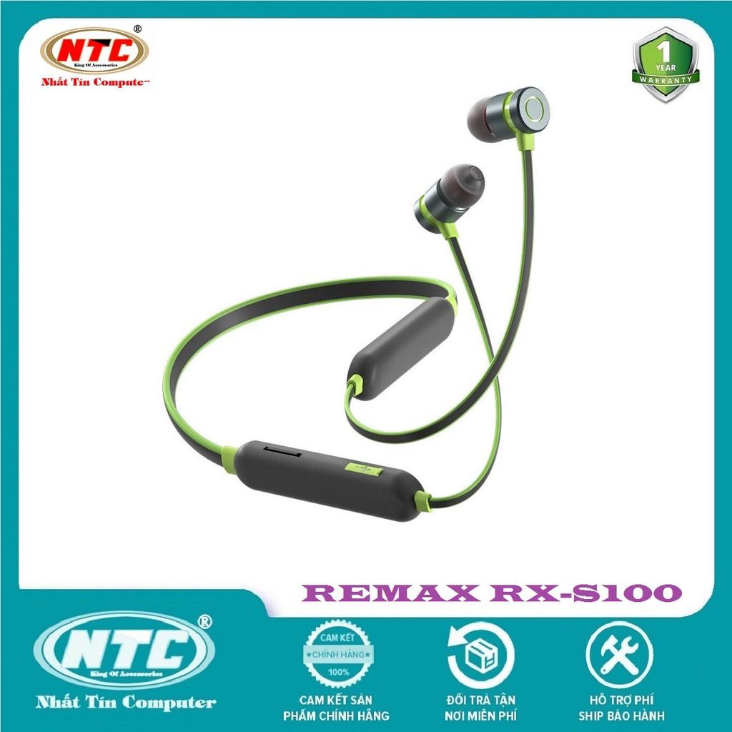 Tai nghe bluetooth  Remax RX-S100 Neck-band Sports V5.0, pin dùng 10H, có khe gắn thẻ nhớ - Hàng chính hãng