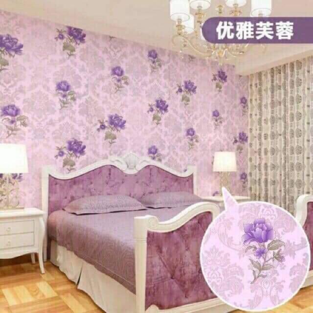 10m gấy dán tường hoa tím có keo sẵn
