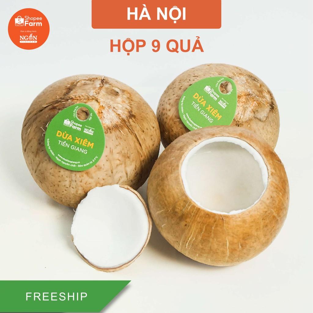 [HN] Hộp 9 Quả Dừa Xiêm Tiền Giang Loại 1 Vị Ngọt Đậm Tươi Ngon - Shopeefarm