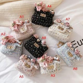 Túi đeo chéo dáng vuông họa tiết hoa dễ thương thời trang cho bé gái