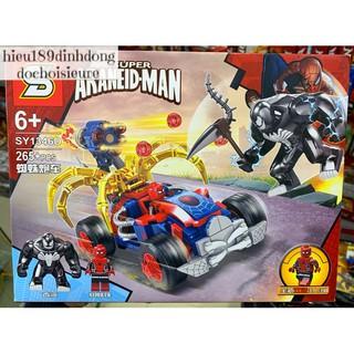 Lắp ráp xếp hình Lego siêu anh hùng SY 1346 mẫu D : Xe oto người nhện đại chiến venom 265+ mảnh