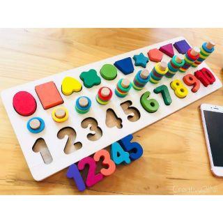 Đồ chơi ghép số, ghép hình khối Nổi màu sắc kết hợp thả vòng số đếm vào 10 cọc cao thấp nhận biết giáo dục cho bé