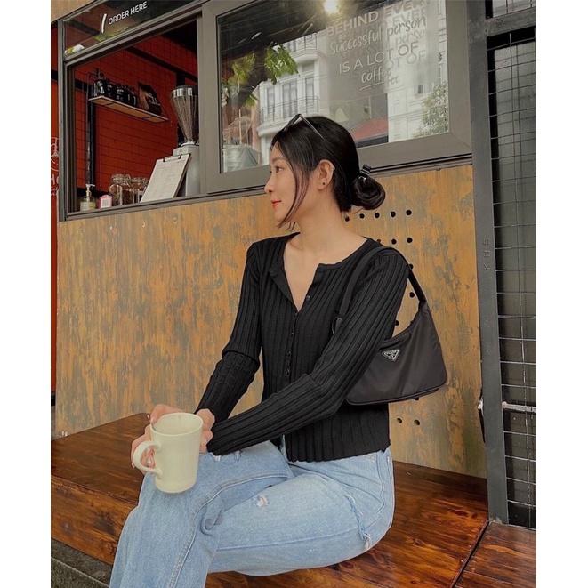 áo len cổ v hàng khuy tròn (8057#)