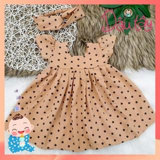 Váy chấm bi nâu tây Váy thiết kế sang chảnh tặng kèm 1 turban váy cho bé mặc đi học đi chơi