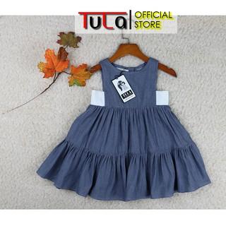 Váy Đầm Cho Bé Gái Vải Linen Mềm Nhập Hàn Quốc Màu Xanh Demin