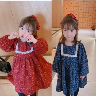 Đầm Tay Dài Hoạ Tiết Hoa Phong Cách Retro Cho Bé Gái