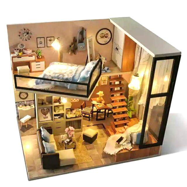 Kèm mica - Mô hình nhà gỗ búp bê dollhouse DIY - TD16 Home and dream