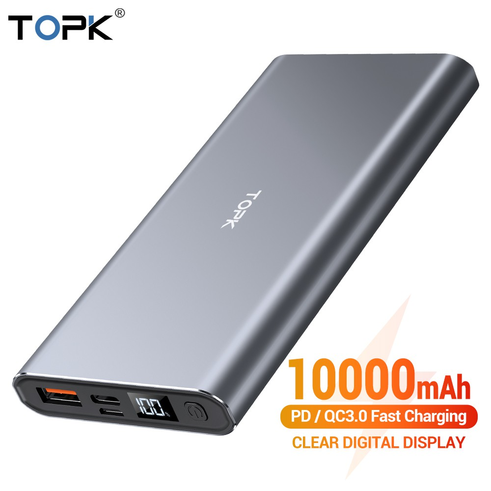 TOPK 10000mAh Powerbank 36W Quick Charge Digital Display Power Bank Backup Battery for iPhone HUAWEI Samsung Xiaomi OPPO Vivo Realme