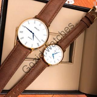Cặp đồng hồ nam nữ Halei mặt tròn dây da thời thượng -Gozid.watches