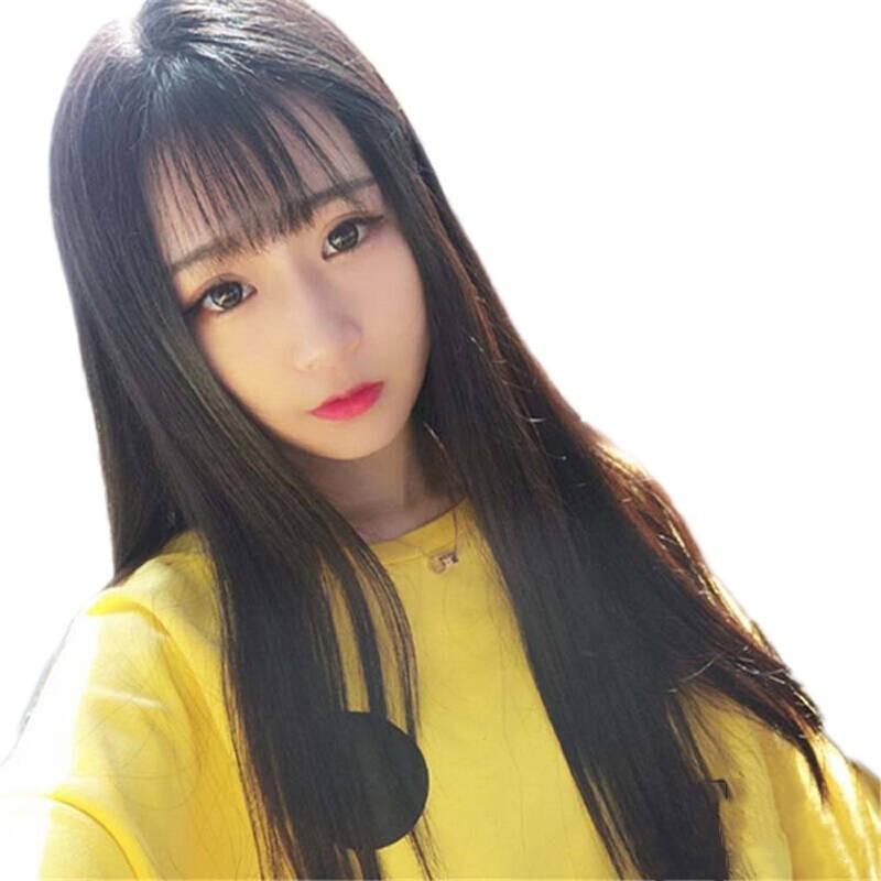 Meifan เวอร์ชั่นเกาหลีของวิกผมหญิงผมยาวตรงอากาศเรียบบางหมวกนักเรียนผมยาวธรรมชาติ