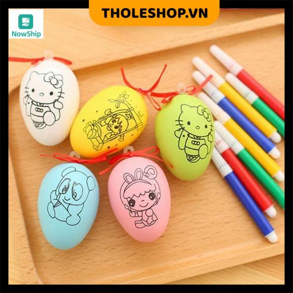 Trứng tô màu 💓FREESHIP💓 Combo 2 Đồ chơi Trứng tô màu cho bé kèm bút lông – Đồ chơi cho bé 4627