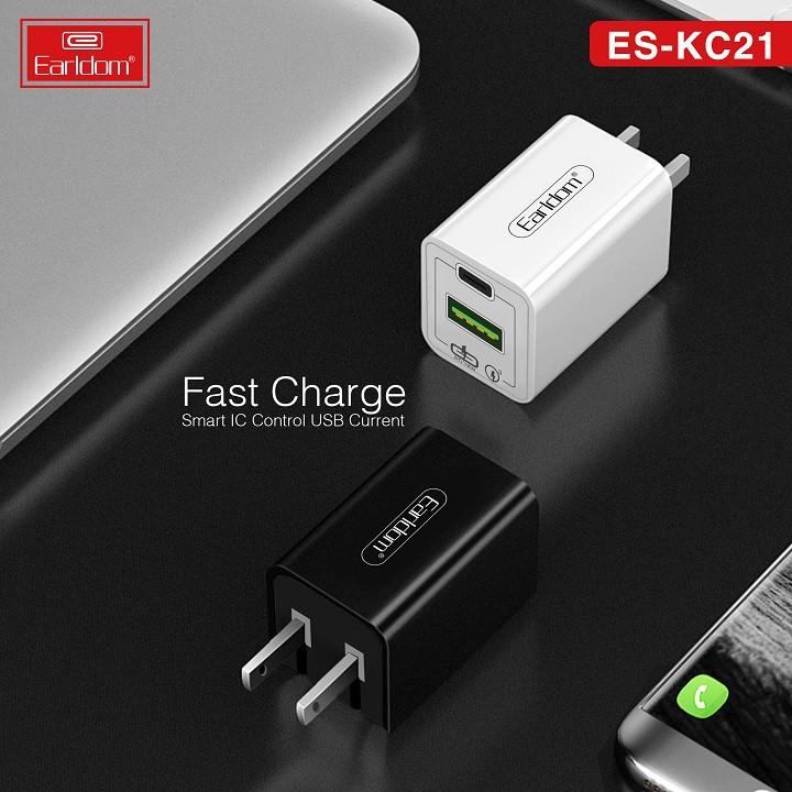 Củ Sạc Nhanh Earldom KC21 Hỗ Trợ 2 Cổng Sạc (1 Cổng USB + 1 Cổng USB Type-C) Sạc Nhanh 18W