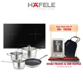 Bếp Từ 2 Vùng Nấu HAFELE 770x450mm HC-IS772EA + Bộ Nồi Bếp Từ Inox 304 HAFELE (3 Nồi 1 Chảo)