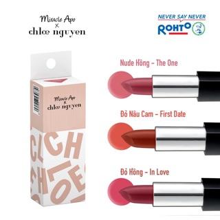 Son đẹp không vỏ Miracle Apo Chloe Nguyen đủ màu Nude hồng - The One, Đỏ nâu cam - First Date, Đỏ hồng - In love thumbnail