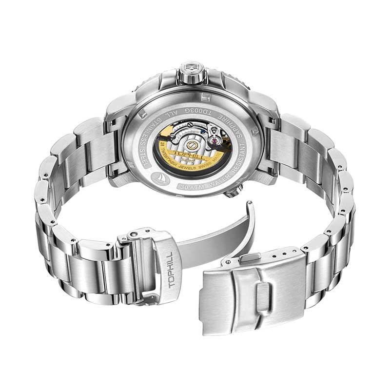 Đồng hồ nam chính hãng TOPHILL TD003G.S1359 - Dây thép - kính Saphire
