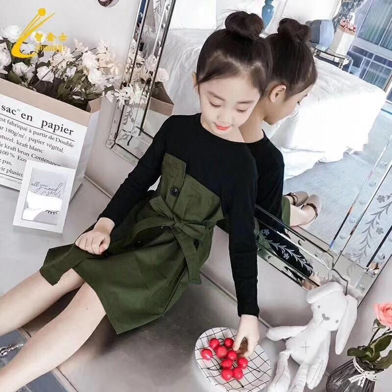 Váy lệch liền áo dài tay mã V001459