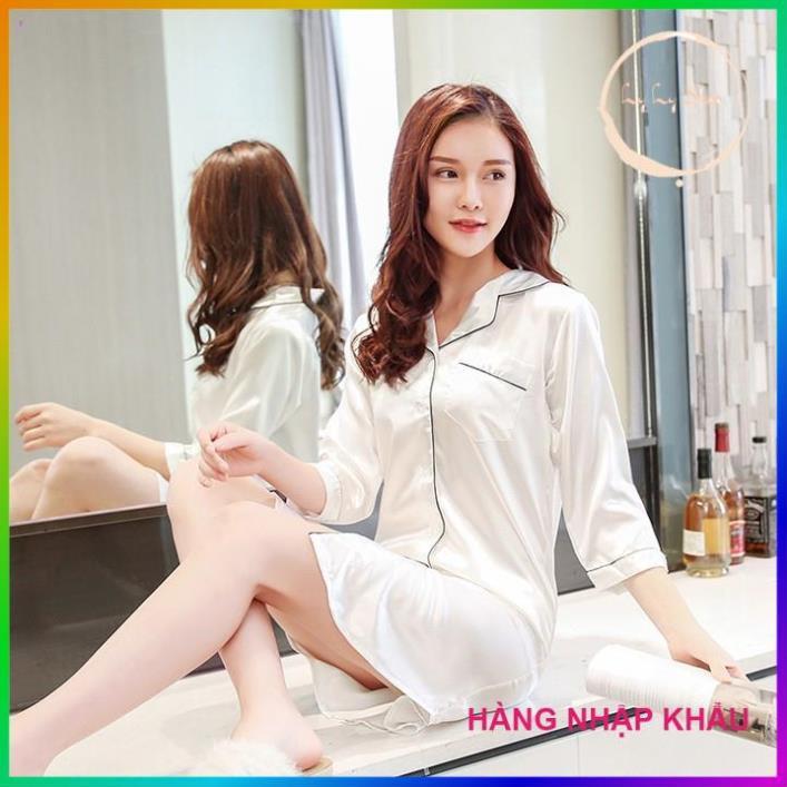 [HÀNG CAO CẤP] Đầm ngủ lụa cao cấp áo ngủ sơ mi tay lững với 4 màu siêu hot Ly Ly Shop